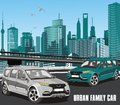 Urban family car in the vector on the background of the city Royalty Free Stock Photo