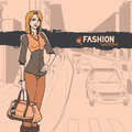 Urban fashion city and people series street panorama with cars standing slender glamour beautiful young girl vector image Royalty Free Stock Photo