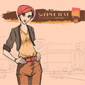 Urban fashion city and people series street panorama elegant beautiful woman vector image Royalty Free Stock Image