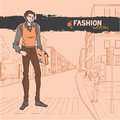 Urban fashion city and people series street panorama handsome beautiful young guy vector image Stock Image