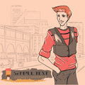 Urban fashion city and people series street panorama handsome beautiful young guy vector image Royalty Free Stock Photos