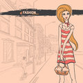 Urban fashion city and people series street panorama slender glamour beautiful young girl vector image Stock Image