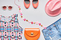 Urban Fashion summer girl clothes accessories set. Royalty Free Stock Photo