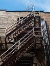 Urban fire escape apartment building Stock Image