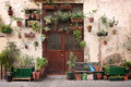 Urban gardening many planters and potted plants in a patio courtyard garden Royalty Free Stock Photo