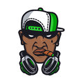 Urban hiphop character smoking in cartoon vetor style Stock Images