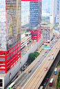 Urban hong kong aerial view on street with modern highway Stock Images
