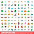 100 urban icons set, cartoon style