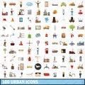 100 urban icons set, cartoon style
