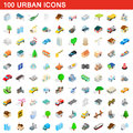 100 urban icons set, isometric 3d style Royalty Free Stock Photo