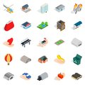 Urban infrastructure icons set, isometric style Royalty Free Stock Photo