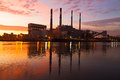 Urban infrastructure near the river at sunrise in New York. Royalty Free Stock Photo