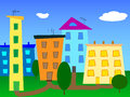 Urban landscape abstract cartoon city vector. Royalty Free Stock Photo