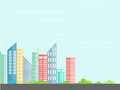 Urban landscape.City architecture in a minimalist style flat.Buildings with the tree.