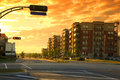 Urban landscape hdr cloudy day and sunrise Royalty Free Stock Photo