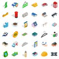 Urban landscape icons set, isometric style Royalty Free Stock Photo