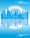Urban landscape with rainbow reflected in the blue water Stock Image