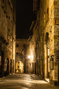 Urban landscape san gimignano night tuscany italy Stock Photo