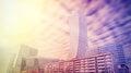 Urban landscape in vivid colors, Warsaw skyline, Poland Royalty Free Stock Photo