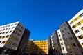 Urban life in new modern buildings