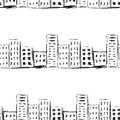 Urban line landscape ink imitation drawing on a white background seamless pattern