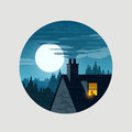 Urban midnight owl house rooftops and the moon vecot illustration Royalty Free Stock Images