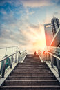 Urban outdoor stairs in sunset to the sky dreamy cityscape of modern city shanghai Royalty Free Stock Photos