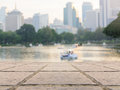 Urban park lake view of bangkok city downtown business area vintage style image Stock Images