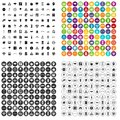 100 urban planning icons set vector variant