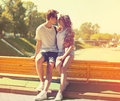 Urban pretty stylish young couple together in love summer vacation relationships and people concept outdoors summer city park Stock Photo