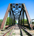 Urban railway bridge summer day Royalty Free Stock Images