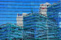 Urban reflection in glass wall of modern building tel aviv israel Stock Images