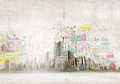 Urban scene background image with buildings and scenes Royalty Free Stock Images