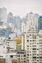 Urban scene sao paulo brazil cityscape skyline vertical gritty view of fades into diminishing perspective haze Royalty Free Stock Photography