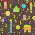 Urban seamless pattern houses and trees on bright background vector cityscape Stock Images