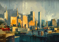 Urban sky scrapers at sunset cityscape painting of Stock Images