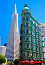 Urban skyline, old and new, downtown San Francisco Royalty Free Stock Image