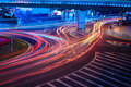 Urban street with light trails in shanghai at night Royalty Free Stock Image