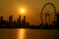 Urban sunset singapore city view Royalty Free Stock Photo
