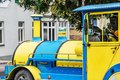 Urban tourist colorful train in Piestany city, Slovakia