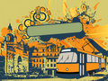 Urban tramway illustration Royalty Free Stock Images