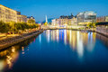 Urban view with famous fountain and Rhone river Royalty Free Stock Photo