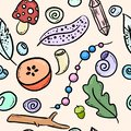 Urban witch colorful doodles seamless pattern. Vector print