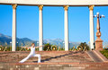 Urban Yoga virabhadrasana II warrior pose Royalty Free Stock Photo