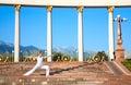 Urban Yoga virabhadrasana II warrior pose Royalty Free Stock Photo