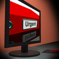 Urgent on monitor shows immediate response or priority state Royalty Free Stock Images