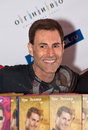 Uri Geller wish his books at press conference Royalty Free Stock Photos