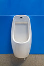 Urinal on blue wall Stock Photography