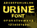 Urine font. Yellow liquid ABC. piss typography. wee-wee alphabet