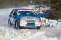 Uriy Ivanov drives a blue Lada car Stock Images